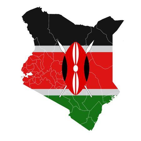 Icona mappa bandiera nazionale del Kenya Vettoriali