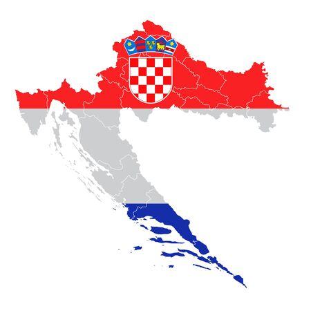 Croatia National flag map icon Vetores