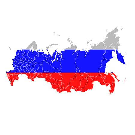Russia National flag map icon Stock Illustratie