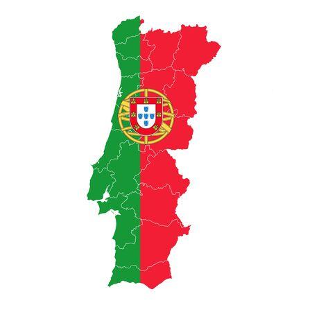 Portugal National flag map icon Vektoros illusztráció