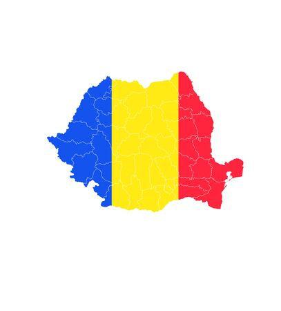 Romania National flag map icon Ilustrace