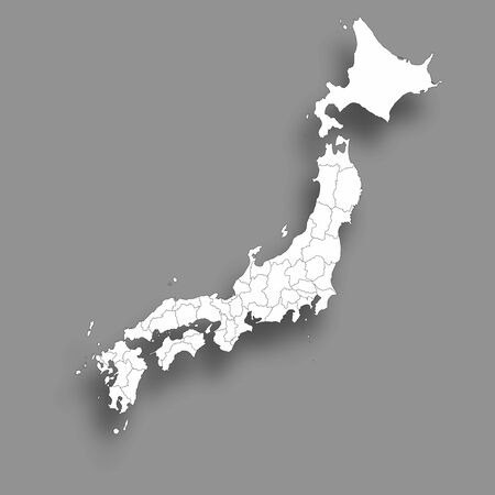 Japan Map Silhouette Prefecture Background