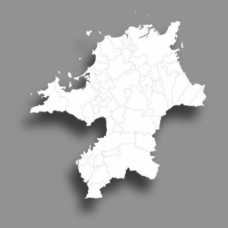 Fukuoka Map Silhouette Prefecture Frame Icon 일러스트
