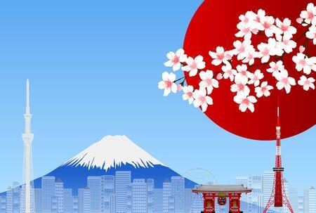 Cherry Blossom Mt.Fuji Tokyo Background Ilustração