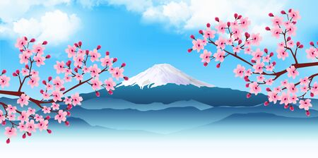 Cherry Blossom Mt. Fuji Spring Background