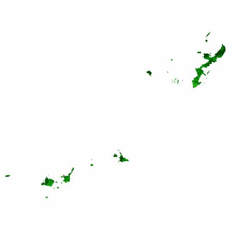 Okinawa Map prefecture green icon Illustration