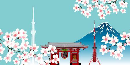 Cherry Blossom Mount Fuji Tokyo background