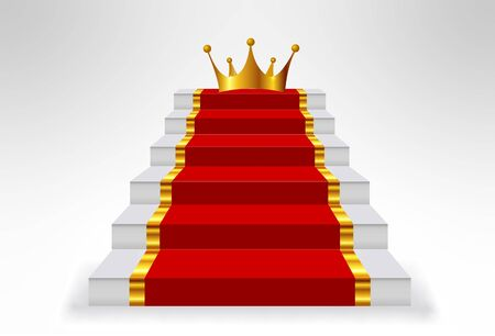 Stairs carpet crown background gold Çizim
