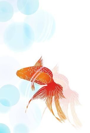 Goldfish hot summer summer background Vector Illustration