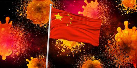 Chinese coronavirus repulsion background Vectores
