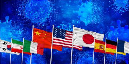 Japan Corona America Repel Virus Illustration