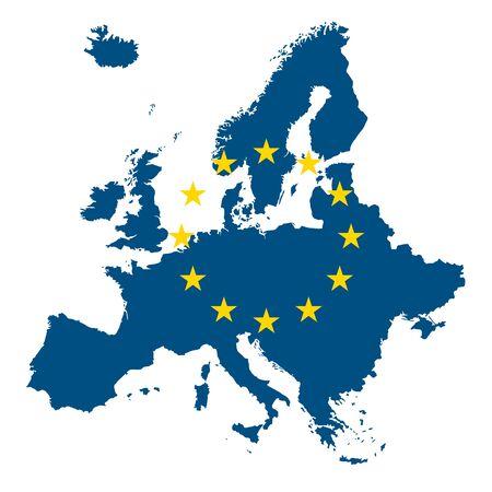 Europe EU Map Flag Icon Vetores