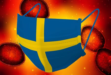Sweden Mask corona virus background Stock Illustratie
