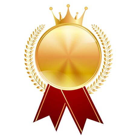 Medal gold crown ribbon icon
