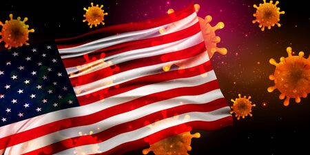 American Corona Virus National flag Background