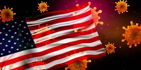 American Corona Virus National flag Background