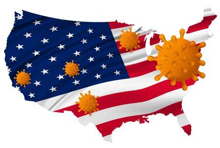 American Corona Virus National flag Icon Illustration