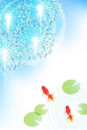 Goldfish Summer greeting card background