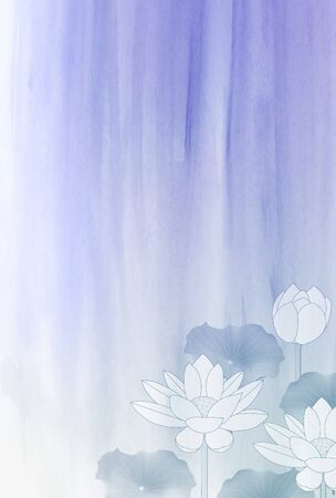 Lotus mourning flower watercolor background