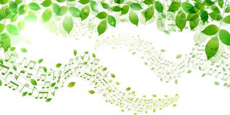 Fresh green leaf note background Vetores