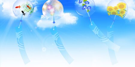 sky watercolor  summer greeting background