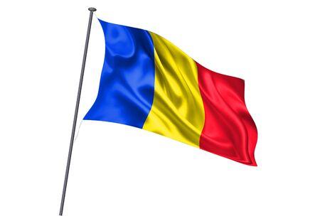 Romania National flag pole icon Ilustracja