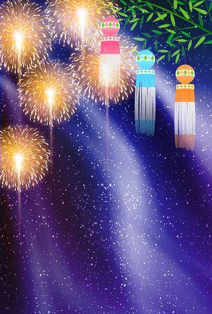 Tanabata Fireworks Milky Way decoration background Ilustração