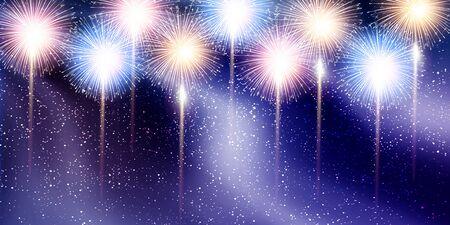 Fireworks Tanabata Milky Way background Ilustração