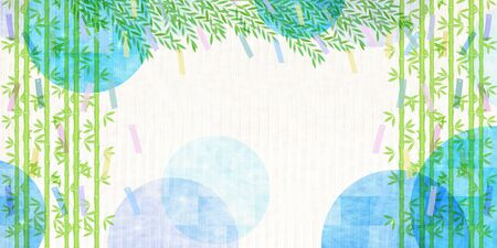 Tanabata Bamboo grass Watercolor background
