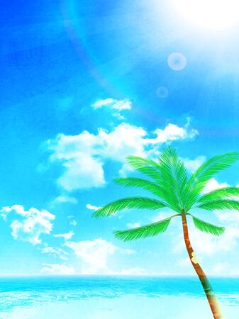 Palm sea summer Sky background Vetores