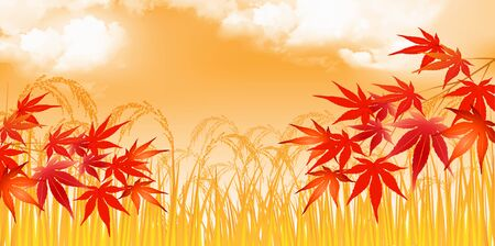Rice rice plant Autumn leaves background Illustration