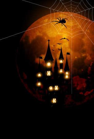Halloween castle moon autumn background Vectores