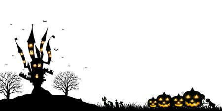 Halloween pumpkin castle autumn background Vectores