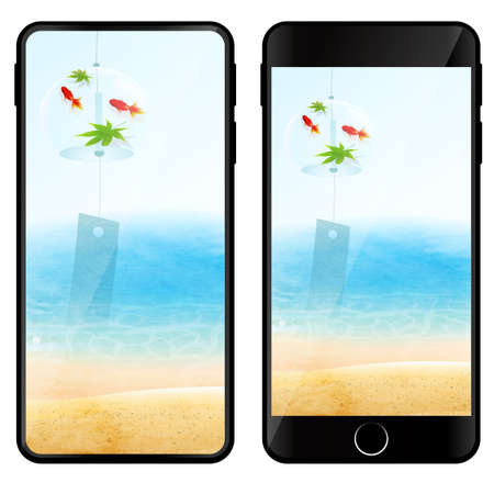 Smartphone mobile sea digital icon