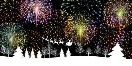 Fireworks christmas snowy night sky background Illusztráció