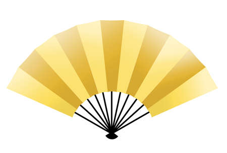 Folding fan New Year card gold icon