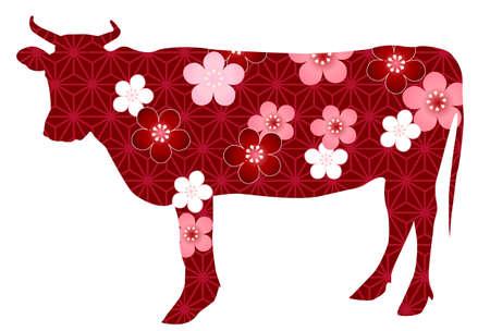 Cow New Year card Zodiac icon