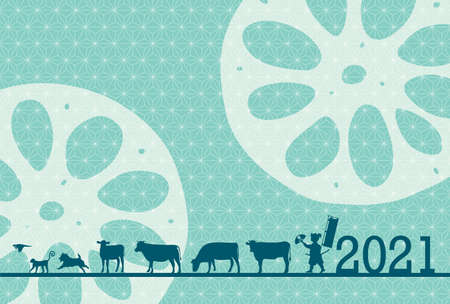 Cow New Year's card Zodiac background 矢量图片