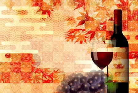 Autumn leaves wine autumn background