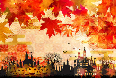 Halloween pumpkin autumn leaves background Illustration