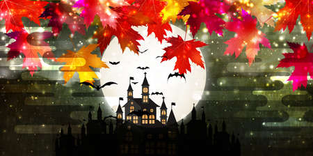 Halloween castle full moon background