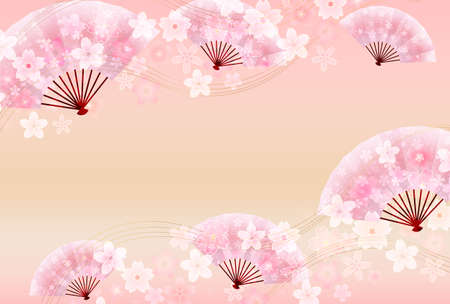 Cherry Blossoms New Year's card Japanese pattern background