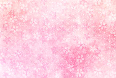 Cherry Blossoms New Year's card Japanese pattern background Ilustração Vetorial