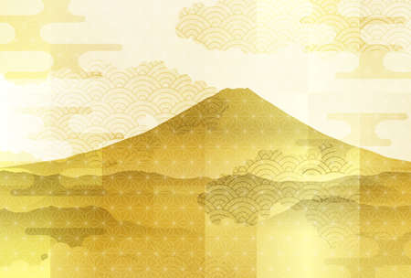 Mt. Fuji New Year's card Japanese pattern background