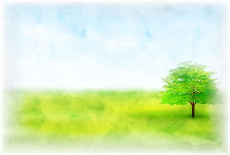 Meadows watercolor tree landscape background