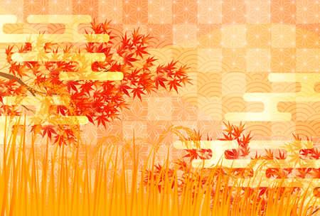 Autumn leaves rice autumn background 向量圖像