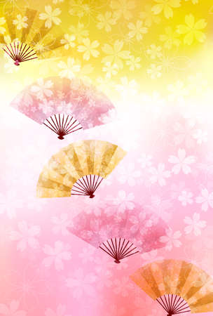 Cherry Blossoms Folding fan New Year's card background 向量圖像