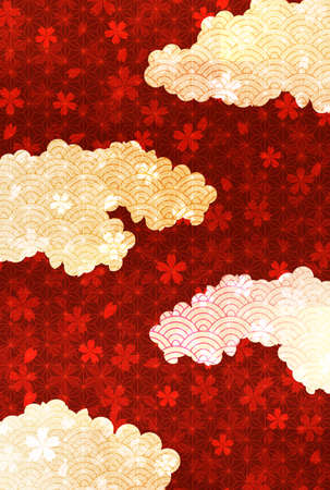Japanese pattern New Year's card Cherry Blossoms background Ilustração