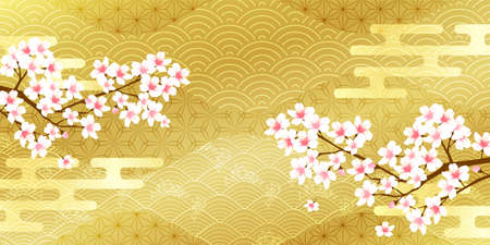 Cherry Blossoms Japanese pattern  background