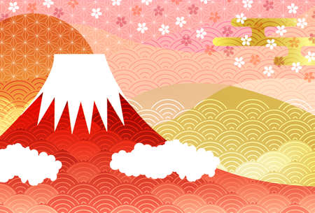 Mt. Fuji Japanese pattern New Year's card background